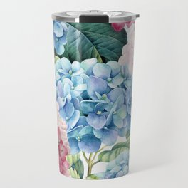 Pink Blue Hydrangea Travel Mug