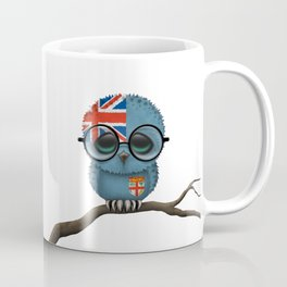 Baby Owl with Glasses and Fiji Flag Coffee Mug
