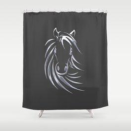 Silver Horse Shower Curtain