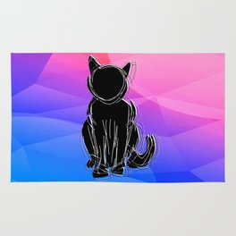 Black Cat - geometric background Rug