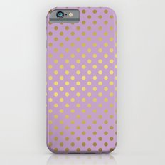 Lavender and Gold Polka Dots Pattern iPhone 6 Slim Case