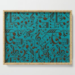 Faux Leather Embossed Musical notes on teal Serving Tray