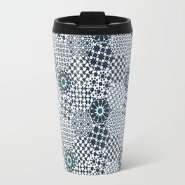 Spanish Tiles of the Alhambra - Gray & dark Aquamarine Travel Mug