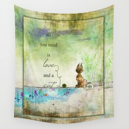 All You Need is Love and  a Cat ~ Ginkelmier Wall Tapestry