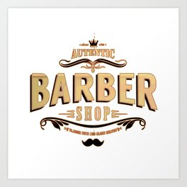 barber shop tee Art Print