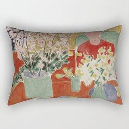 Plum Blossoms, Ochre Background by Henri Matisse Rectangular Pillow