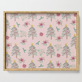 Christmas Pattern Pink Serving Tray