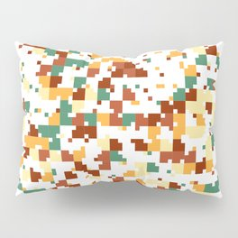 Waiting for Fall - Random Pixel Pattern in Green, Orange and Yellow Pillow Sham
