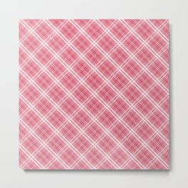 Nantucket Red and White Tartan Plaid Check Metal Print