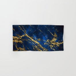 Exquisite Blue Marble With Luxury Gold Veins Hand & Bath Towel