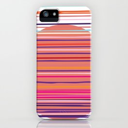 Sunset colorful stripes and sun pattern iPhone Case