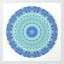 Blue and Turquoise Mandala Art Print
