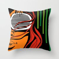lips Throw Pillows featuring Lips by David Navascues