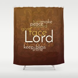 Christian Priestly Blessing Word Art on Damask Shower Curtain