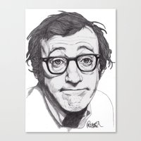 woody allen Canvas Prints featuring Woody Allen by Paul Nelson-Esch Art