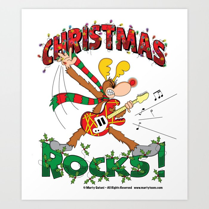 Christmas Rock.Christmas Rock Art Print By Martytoons