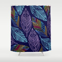 Beautiful Colorful Feather Pattern Shower Curtain