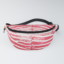 Zebra Stripes | Distressed Red and White | Watercolor Animal Print Art Fanny Pack