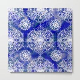 Blue Watercolor Mandala Tile Metal Print