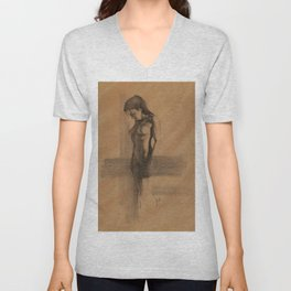 Nude Female Charcoal Drawing Front View Standing Woman Figure Black and Brown Tan Unisex V-Neck