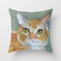 garfield Throw Pillows featuring Garfield by Suzanna Schlemm
