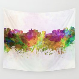 Sarasota skyline in watercolor background Wall Tapestry