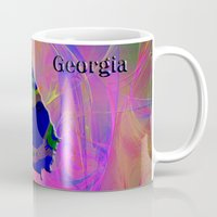 georgia Mugs featuring Georgia Map by Roger Wedegis