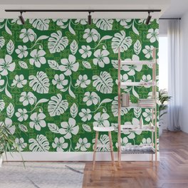 Green and White Aloha Hawaiian Flower Blooms and Tropical Leaves Pattern Wall Mural
