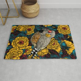 Zebra finch and rose bush  Rug