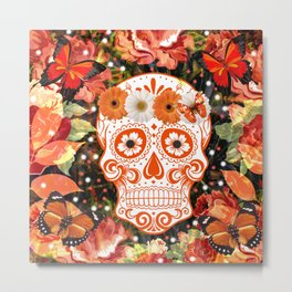 Orange Floral Sugar Skull Metal Print