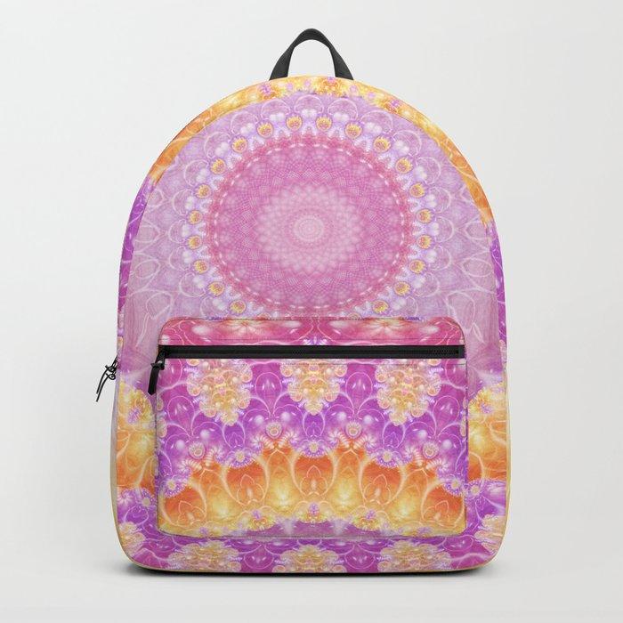 Mandala of Summer in Pink, Orange and Purple Backpack