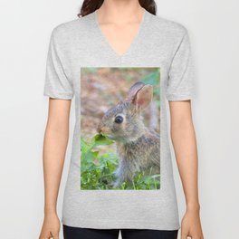 Watercolor Rabbit, Eastern Cottontail 01, Middletown, Maryland Unisex V-Neck