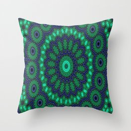 Lovely Healing Mandalas in Brilliant Colors: Black, Royal Blue, Dark Green, and Russian Green Throw Pillow