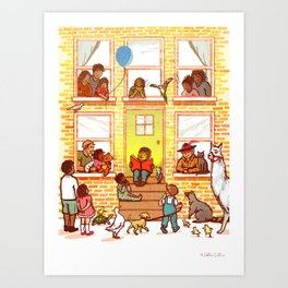 Neighborhood Read Aloud Art Print