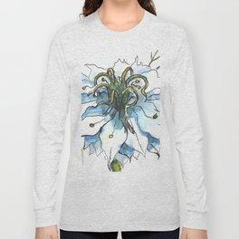 Nigella watercolor beautiful flower, nature Long Sleeve T-shirt