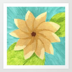 Yellow Painsetta on Aqua Background Art Print
