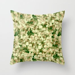 Victorian Style Real Green Buttercup Flowers Repeat Pattern Throw Pillow