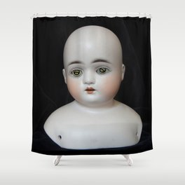 Typewriter Key Creepy Mentalembellisher Doll Shower Curtain