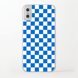 Gingham Brilliant Blue Checked Pattern Clear iPhone Case