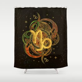 Capricorn Zodiac Sign Earth element Shower Curtain