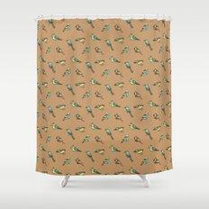 doodle birds - brown Shower Curtain