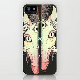 Split Face Horse, Surreal Artwork iPhone Case