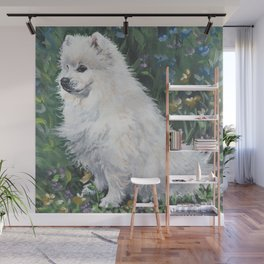 American Eskimo Dog Fine Art Dog Painting by L.A.Shepard Wall Mural