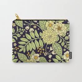 Navy Blue, Yellow, White & Green Floral Pattern Carry-All Pouch