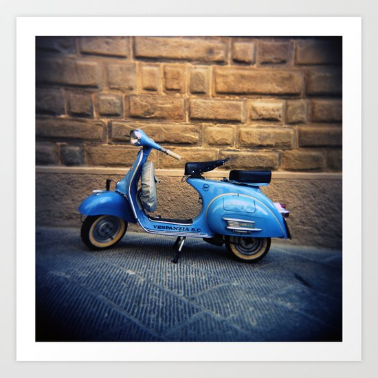 Blue Vespa, Italy Art Print