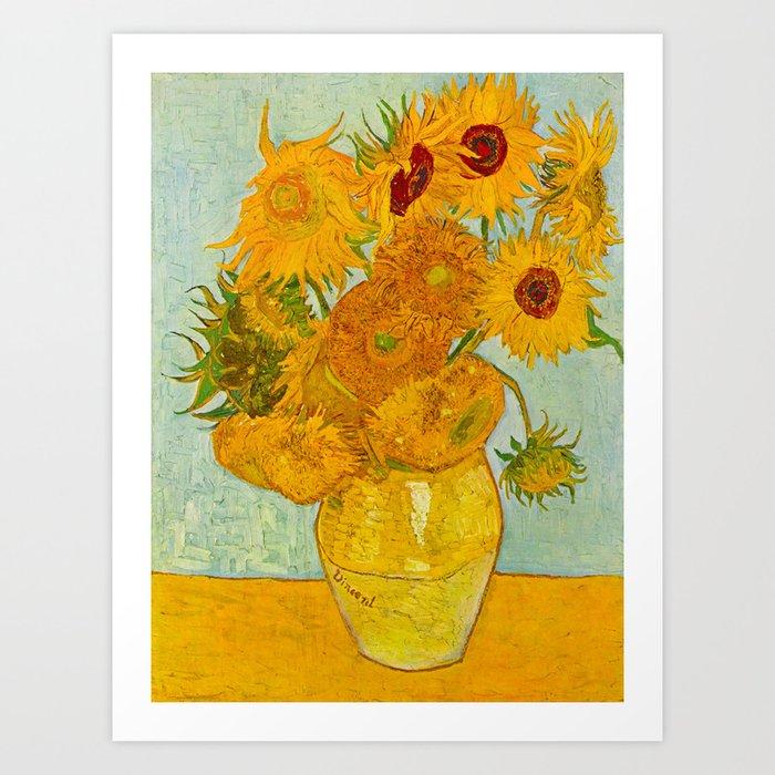 Sunflowers Oil Painting By Vincent Van Gogh Art Print By Enshape