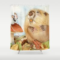 beaver Shower Curtains featuring Mouse & Beaver by Patrizia Donaera ILLUSTRATIONS