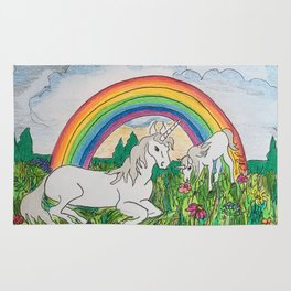 Unicorns, mother and child Rug