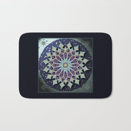 Mosaic Mandala in Blue Bath Mat