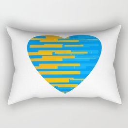Glitching Hearts — Blue and Orange Rectangular Pillow